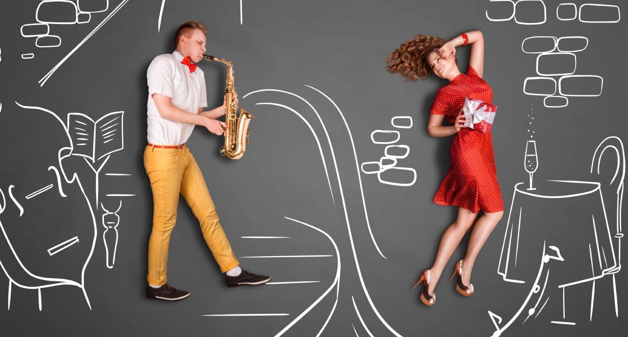 Homme qui joue du saxo pour sa femme - Jetunoo